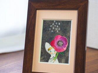 水彩原画『星と赤い花』日々を愉しむちいさな絵 額装品の画像