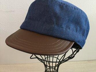 薄手デニムのビンテージ風ワークキャップ(ブルー)の画像