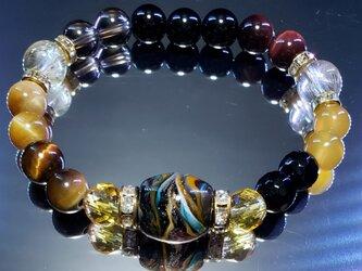 トンボ玉&天然石ブレスレット~BP0071~の画像