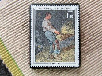 フランス 美術切手ブローチ6186の画像