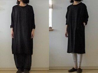 【受注制作】黒 くったりリネン ゆるり長袖チュニOP の画像