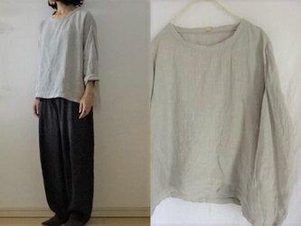 【受注制作】淡グレー 天日干し60薄手リネン ゆるり長袖プルの画像