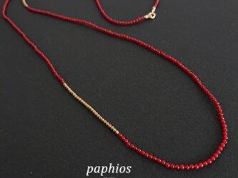 新:赤いネックレス90cmの画像