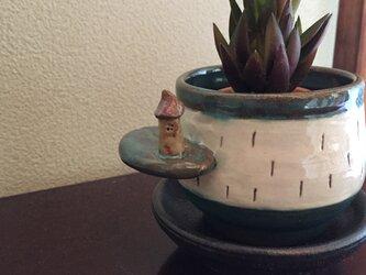 家付き 植木鉢 緑青釉の画像