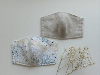 【2枚セット】夏色マスク リネン(オートミール色)とダブルガーゼ(グレーグリーン)受注制作の画像