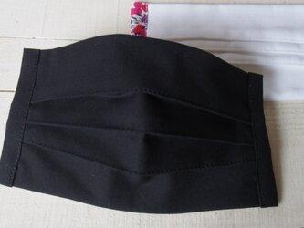 Lサイズ プリーツマスク黒 ★生地は晒2枚+コットン1枚=3枚重ねの画像