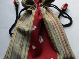 4871 花柄と縞の着物で作った巾着袋 #送料無料の画像
