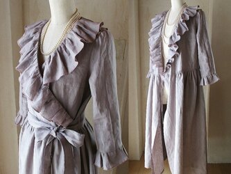 sold「小顔効果♪」リネン ラッフルフリルが揺れる カシュクールワンピース コート ロング丈の画像