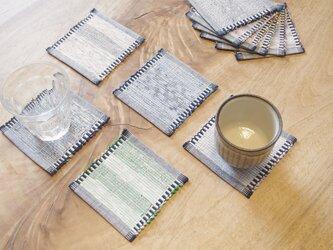 白&紺・かわいいサイズの裂き織りコースター5枚セット 木綿・手織りの画像
