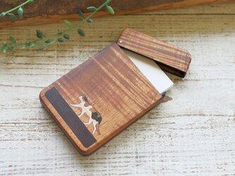木製名刺入れ 究極ハワイアンコア 【三毛猫】一点ものの画像