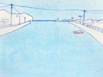 「午後の港町」イラスト原画  ※額縁入りの画像