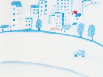 「都会の朝」イラスト原画  ※額縁入りの画像