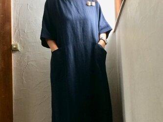 後ろポケット付きワークワンピース ダークネイビー おうち服の画像