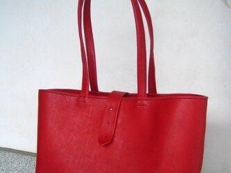 【人気】【受注生産】赤色のしっかりA4トートバッグ(肩掛け)の画像