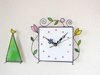 ステンドグラス*掛け&置き時計・アラベスク(L)の画像