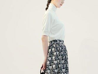春夏 コットン 黒 白 ロングスカート 花柄 ●PAULA●の画像