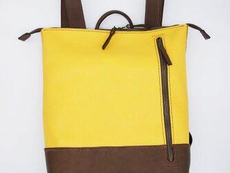 革のバイカラーリュック 手縫い 黄×茶の画像