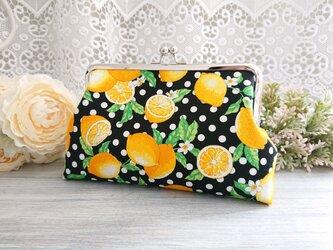 ◆ビタミンレモンのドットがま口*柑橘黄色フルーツ柄食べ物果物プレゼントや旅行にの画像