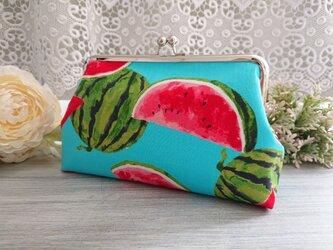◆【再販】ウォーターメロンのサマーがま口ポーチ*スイカすいかフルーツ柄果物旅行プレゼントの画像
