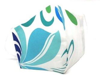 ハワイアン ファブリック ファッション・3Dマスク ティアレ ブルー Lサイズ[mfm3Q-156L]の画像