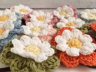 大きめサイズ!選べる!コットン糸で編むナチュラル雰囲気のお花ヘアゴムの画像