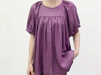 en-en・リネン・ギャザー・ギャザープルオーバー紫の画像