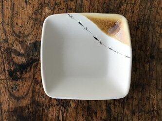 色絵 四角豆皿 イカの画像