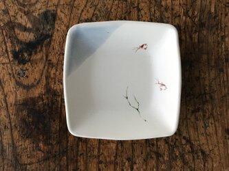 色絵 四角豆皿 エビの画像