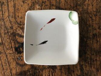 色絵 四角豆皿 ハスに鯉の画像