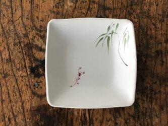 色絵 四角豆皿 柳にカエルの画像