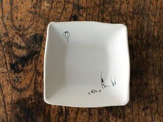 色絵 四角豆皿 気球の画像