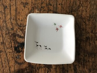 色絵 四角豆皿 シカの画像