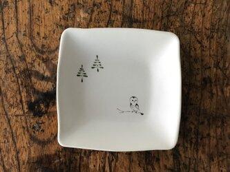 色絵 四角豆皿 フクロウの画像