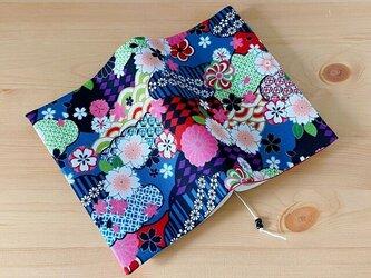 和風 桜と菊のブックカバー 文庫本用の画像
