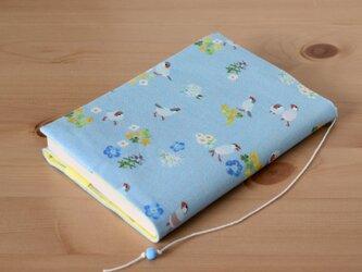 文鳥と花のブックカバー 文庫本用の画像