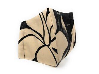 ハワイアン ファブリック ファッション・3Dマスク(扇型) ハイビスカス ブラック Lサイズ パターン2の画像