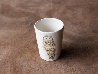 粉引フリーカップ(フクロウ)の画像