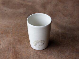 粉引フリーカップ(ハリネズミ立)の画像