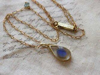 鉱物標本ジュエリー*ラブラドライト*真鍮ネックレス*no.431の画像
