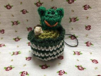 ♪おうち時間を楽しく♪アニマルアイスクリームの編みぐるみストラップ(カエル)の画像