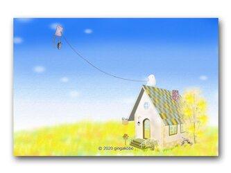 「筋トレ・空飛び編」 ほっこり癒しのイラストポストカード2枚組 No.1071の画像
