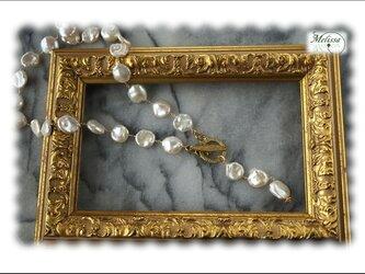 大粒淡水コインパールのYネックレスの画像