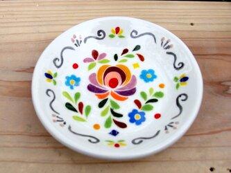 スペインタイル 陶器 丸いお皿の小物入れの画像
