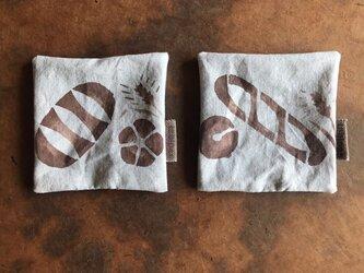 ベンガラ泥染めコースター2枚セット aの画像