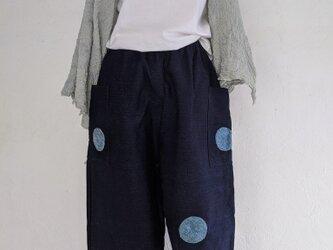 藍染ドット模様のワイドパンツ #ゆったりコーデの画像