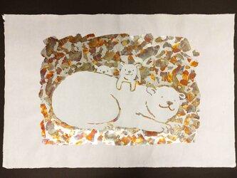 ギルディング和紙 polar bear シロクマ 白和紙 銀箔黃混合箔の画像
