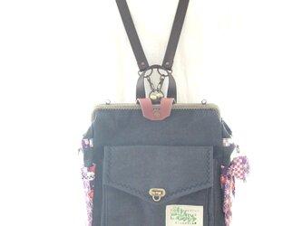 ☆右ファスナー&背中ポケット付き3WAYコンパクトスッキリデニムの撫子リュック 和花ストライプ の画像