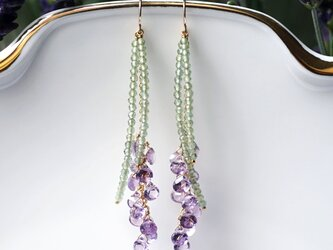 アメジストとアパタイトによるラベンダーのピアス ~Lavenderの画像
