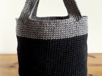 『hibi』麻糸のShopping Bag(麻・黒*グレー)の画像