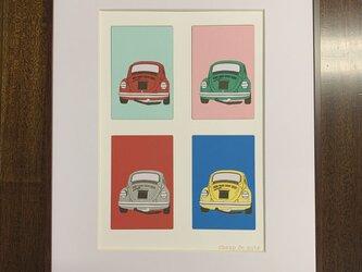 フレーム額装 CAR イラスト 「VW Beetle Back view」の画像